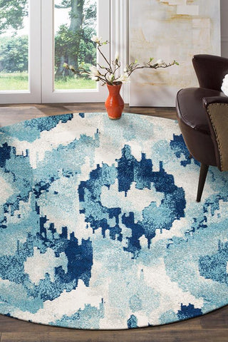 Lesley Whimsical Blue Round Rug
