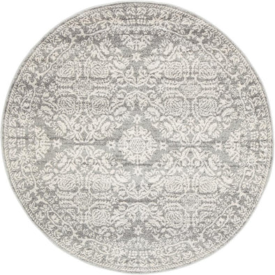 Gwyneth Stunning Transitional Silver Round Rug