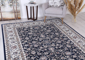 Dynasty Border Navy Cream Rug