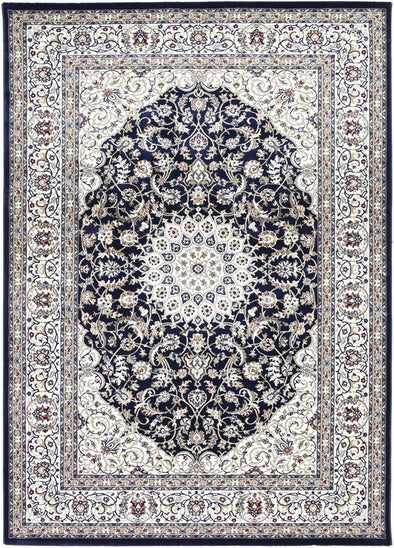Dynasty Medallion Navy Cream Rug