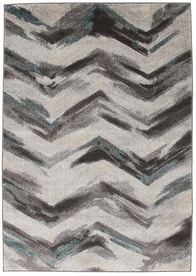 Ella Chevron Modern Rug Grey Blue