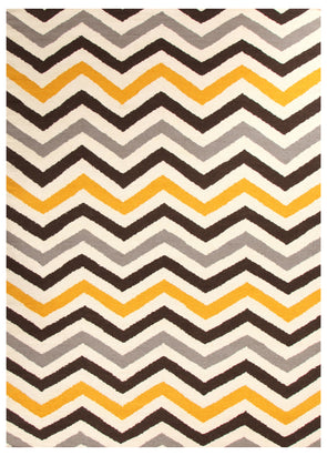 Flat Weave Design Rug Yellow Brown