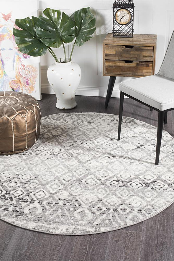 Zakira Dark Grey Tribal Round Rug