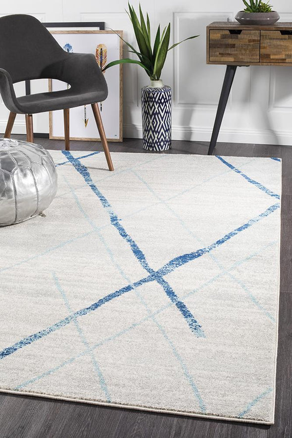 Noah White Blue Contemporary Rug