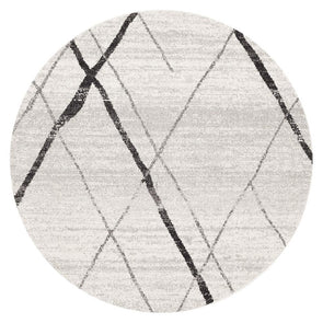 Noah White Grey Contemporary Round Rug