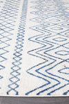 Nadia White Blue Rustic Tribal Rug