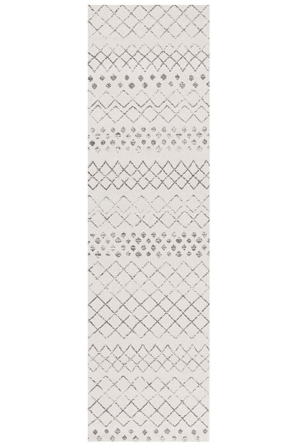 Selma White Grey Tribal Rug