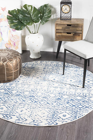 Ismail White Blue Rustic Round Rug