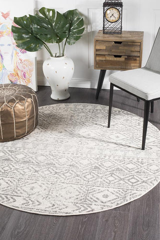 Ismail White Grey Rustic Round Rug