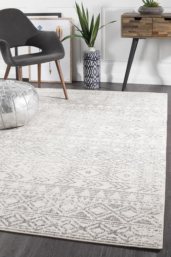 Ismail White Grey Rustic Rug