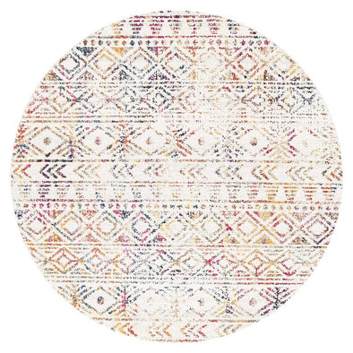 Ismail Multi Grey Rustic Round Rug