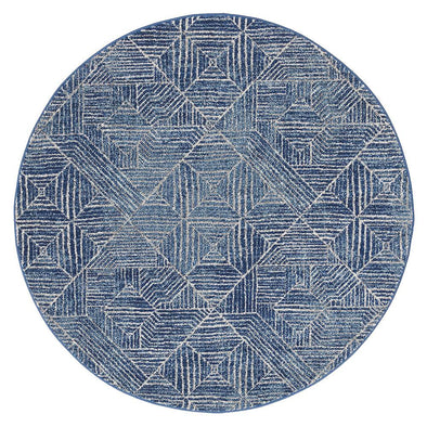 Kenza Contemporary Navy Round Rug