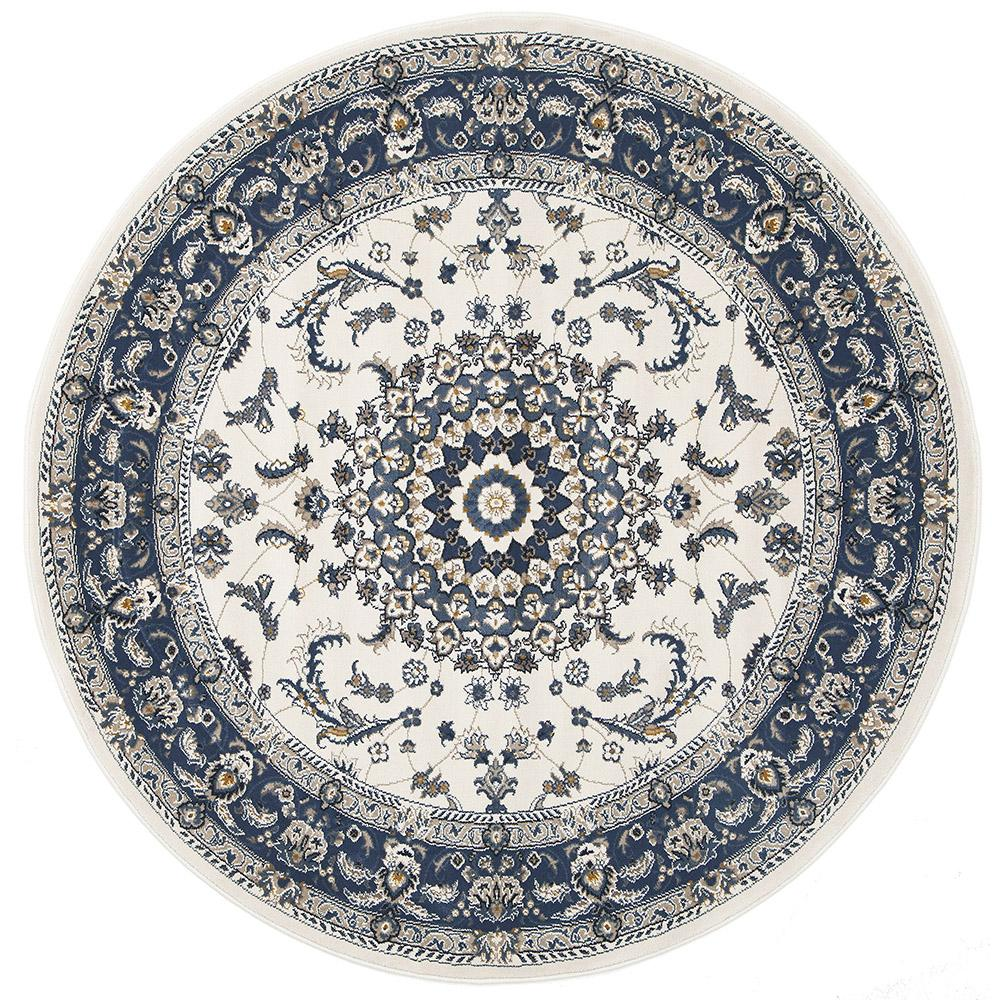 Blue And White Circle Rug: Manal Oriental Round Rug White Blue