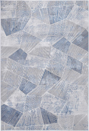 Almada Grey Blue Tiled Geometric Rug