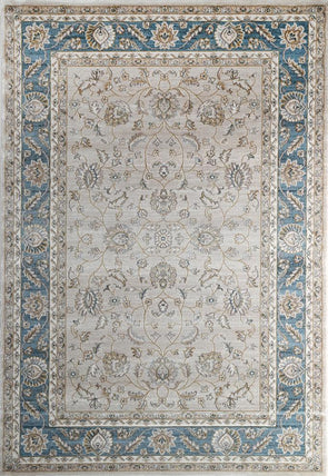 Oregon Beige Blue Border Rug