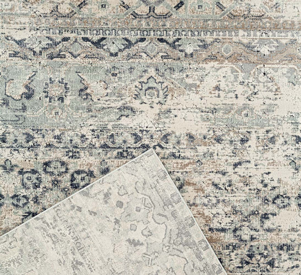 Providence Distressed Contemporary Blue Rug