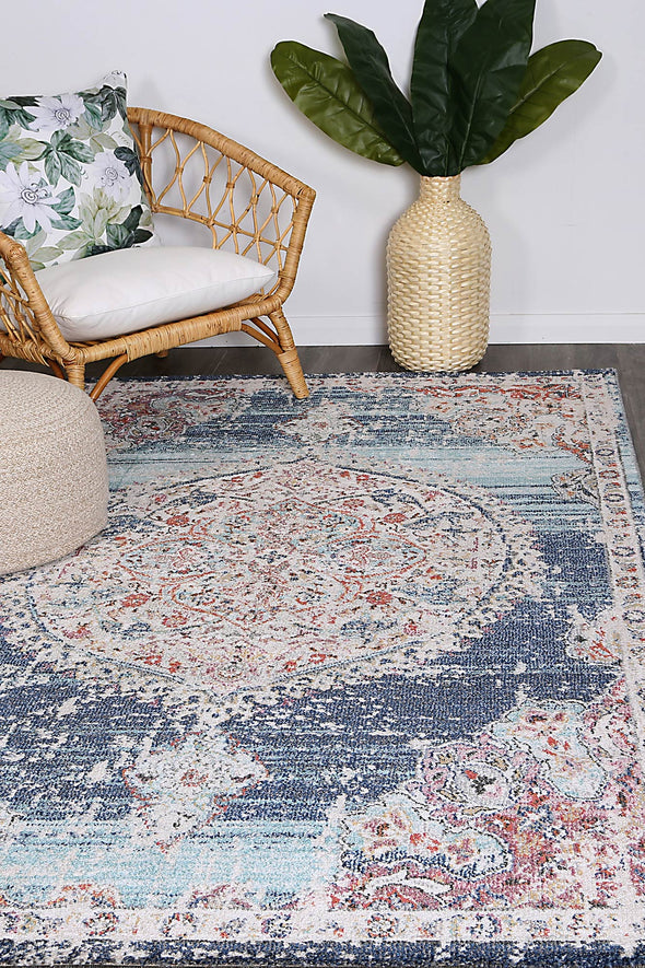 Hollow Medalion Transitional Navy Multi Rug