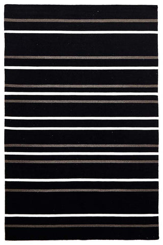 Oslo Stripe Flat Weave Wool Rug Black