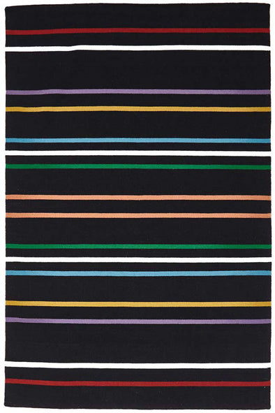 Oslo Stripe Flat Weave Wool Rug Multi Black