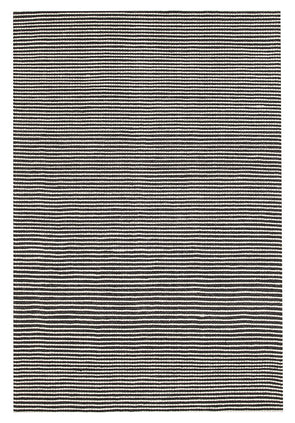 Oskar Felted Wool Striped Rug Black White