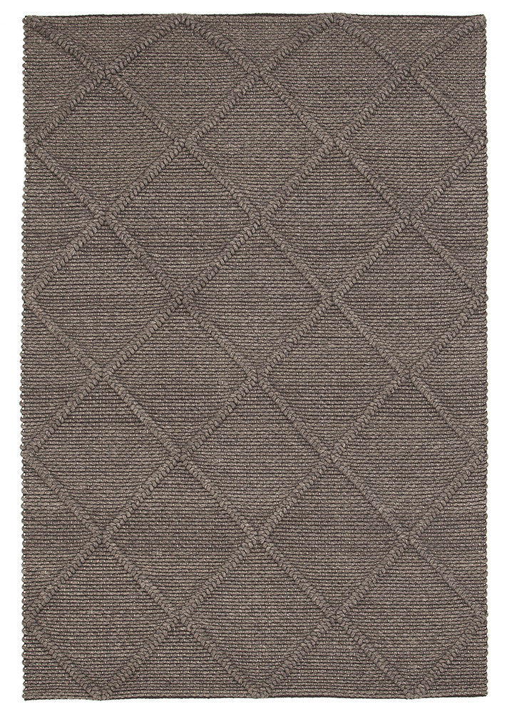 Oberg Wool Diamond Rug Grey Brown