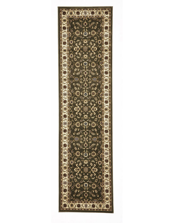 Classic Green Rug with Ivory Border