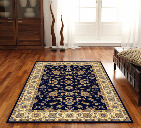 Classic Rug Navy with Ivory Border