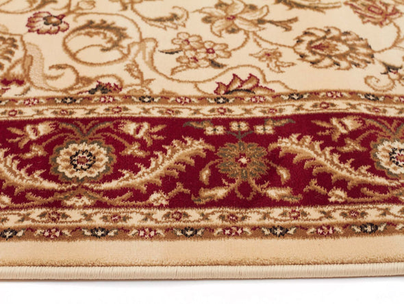 Medallion Rug Ivory with Red Border