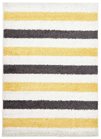 Stencil Shag Rug Yellow Charcoal White