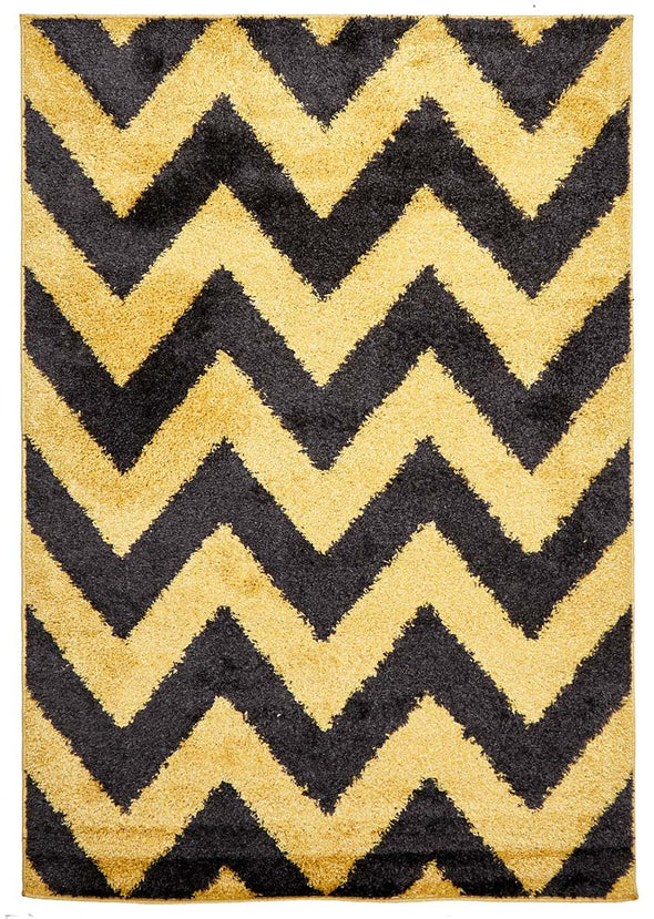 Ziggy Shag Rug Yellow Charcoal