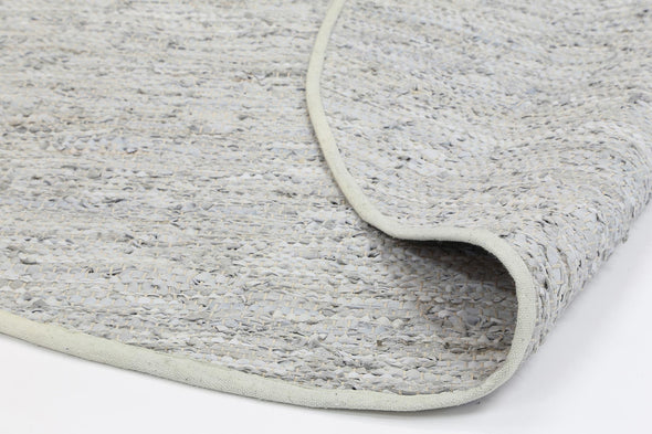 Metro Modern White Leather Rug