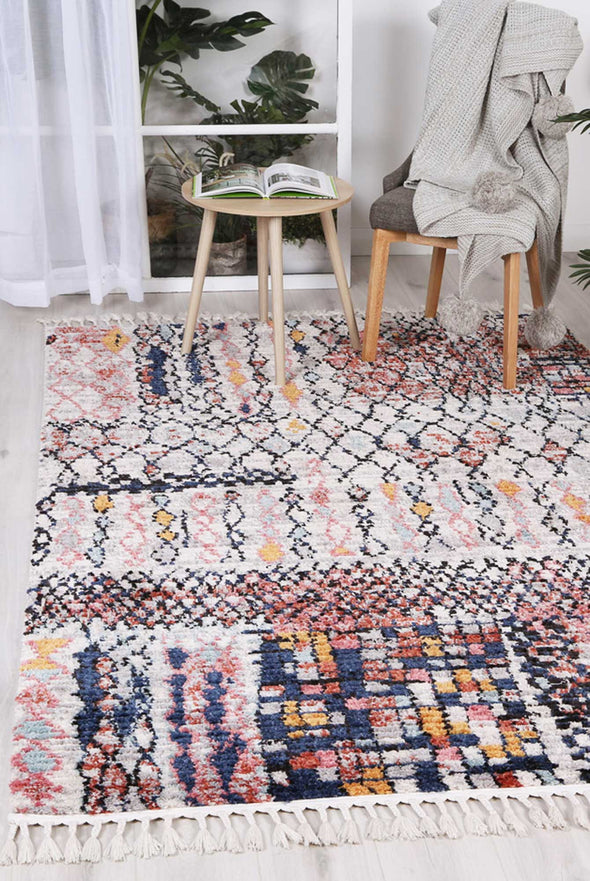 Boho Moroccan Fes Silver Pink Rug
