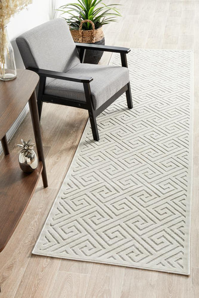 Chicago Alice Natural White Runner Rug
