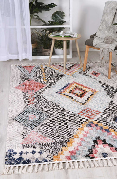 Boho Moroccan Marrakesh White Rug
