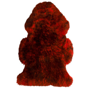 Sheepskin Rug Merino - Red with Black Tips