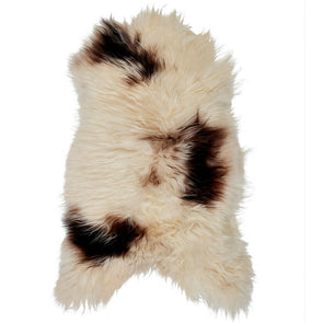 Icelandic Sheepskin Rug - White Brown Spot