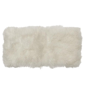 Mongolian Sheepskin Runner - White