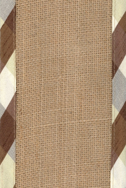 Checker Lined Burlap Ribbon
