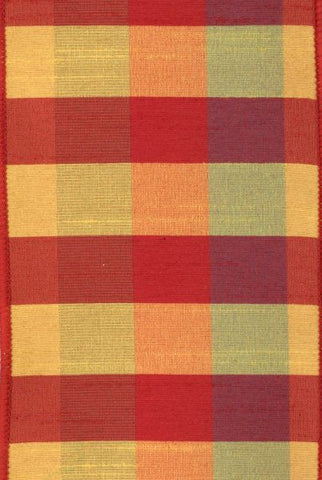 Faux Dupioni Plaid Red/Gold