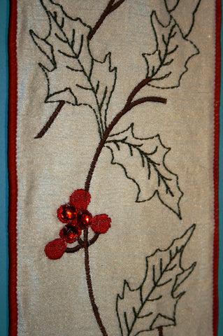 White w/Embroidered Holly