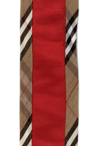 Faux Dupioni Red w/Black Plaid Edges