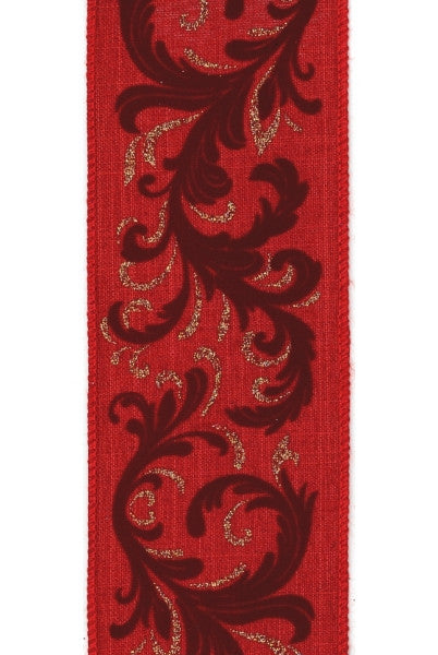 Flocked Christmas Ribbon
