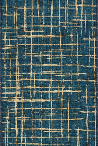 Linen Hashed Plaid Glitter/Teal