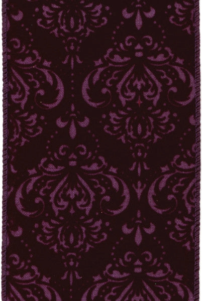 Damask Flocked Ribbon Purple