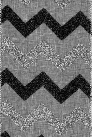 Glitter Chevron, Black/Gray/Silver