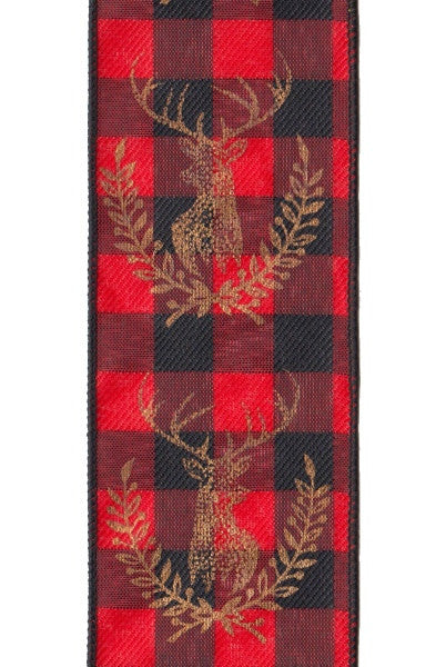 Checkered Christmas Ribbon w/Deers
