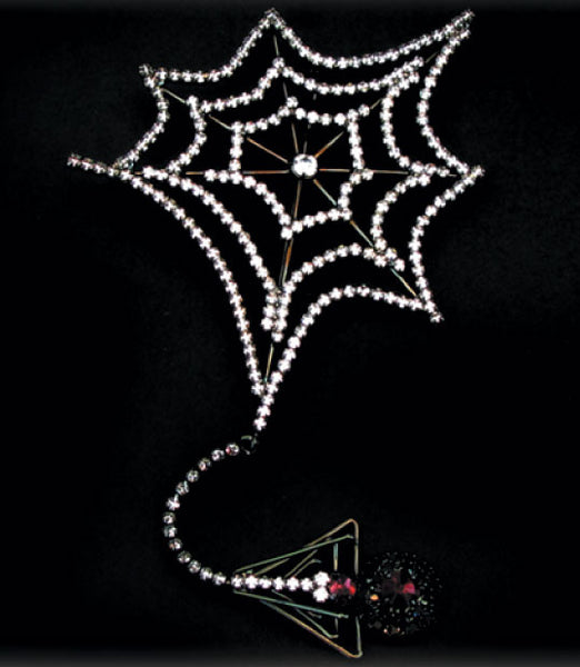 Crystal Web w/Dangling Spider Broach