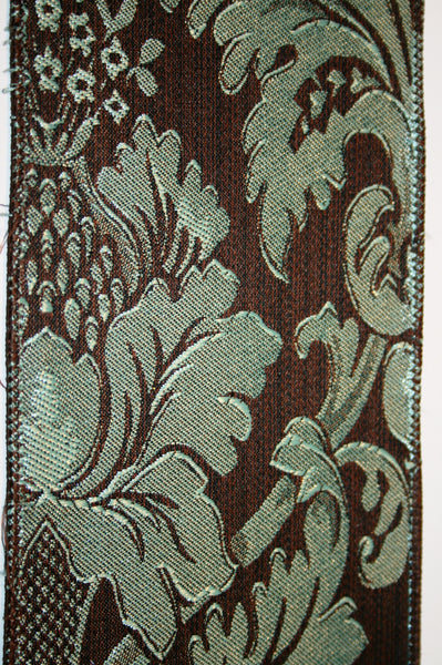 Aqua & Brown Damask