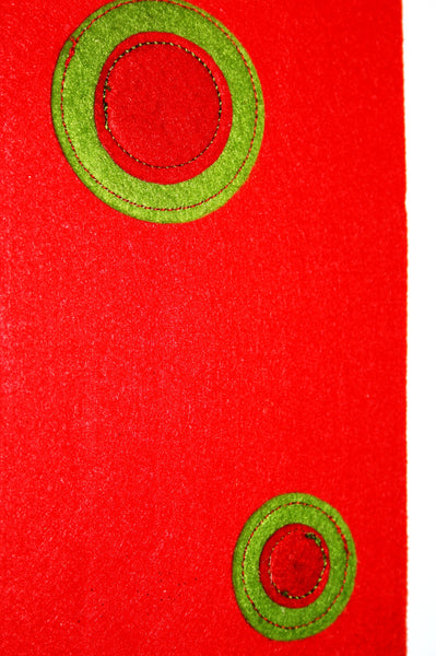 Red Felt w/Green Circles