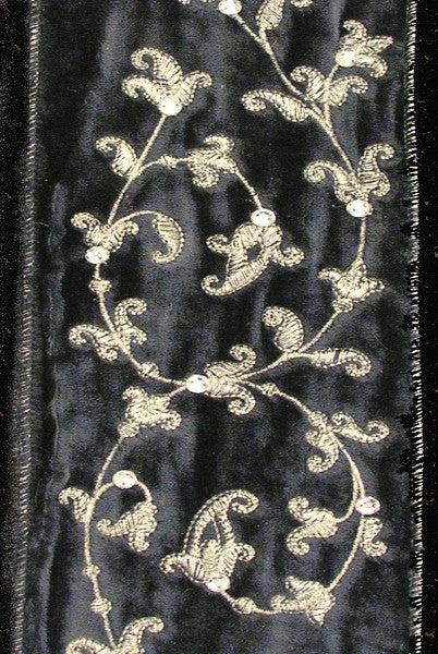 Embroidered Grey Velvet